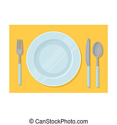 Served table icon in cartoon style isolated on white...