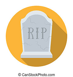 Headstone icon in flat style isolated on white background. Funeral ceremony symbol stock bitmap, rastr illustration.