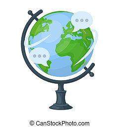 Globe of various languages icon in cartoon style isolated on...