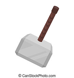 Viking battle hammer icon in cartoon style isolated on white...