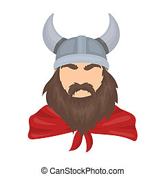 Viking icon in cartoon style isolated on white background....