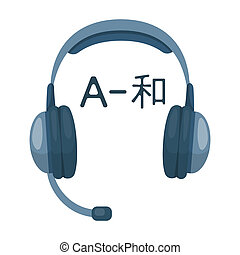 Headphones with translator icon in cartoon style isolated on...