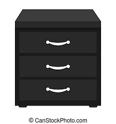 Office filing cabinet icon in cartoon style isolated on...