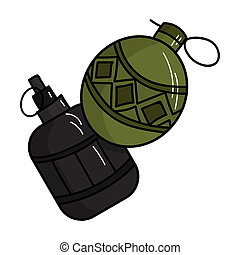 Paintball hand grenade icon in cartoon style isolated on...