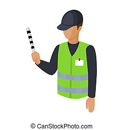Parking attendant icon in cartoon style isolated on white background. Parking zone symbol stock bitmap, rastr illustration.