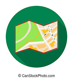 Travel map icon in flat style isolated on white background....