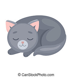 Sleeping cat icon in cartoon style isolated on white...