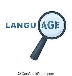 Learning foreign language icon in cartoon style isolated on...
