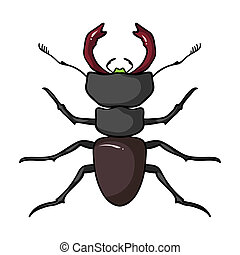 Forest red ant icon in cartoon style isolated on white...