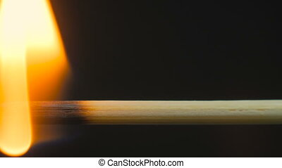 Burning wooden toothpick, stick - Burning wooden stick,...