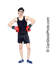skinny boxer man - Funny skinny boxer man. Sports and health...