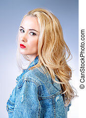long blonde hair - Portrait of a beautiful young woman with...