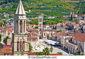 Historic town of Hvar stone architecture in Dalmatia,...