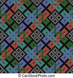 Ethnic stylized seamless knitted pattern - Ethnic stylized...