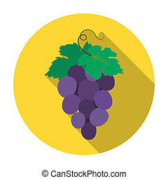 Bunch of wine grapes icon in flat style isolated on white...