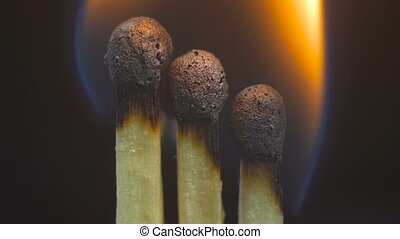 Burning wooden matches. Black background. Extreme macro shot