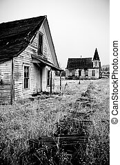 abandoned house and church - old abandoned house and church...