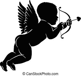 Silhouette little cupid with bow and arrow