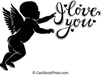 Silhouette little cupid with I love you.