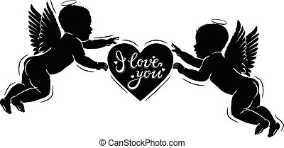 Silhouette cupids with heart I love you.