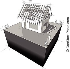House with roof framework diagram - Construction of simple...