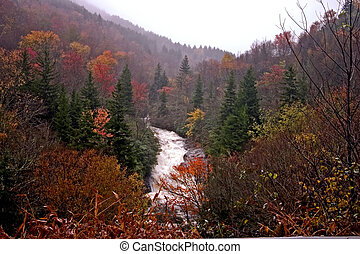 fall waterfall - rushing waterfall on rainy, fall day in the...