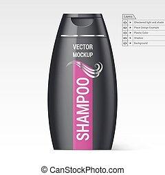 Plastic Bottle Shampoo - Black Plastic Bottle of Shampoo...