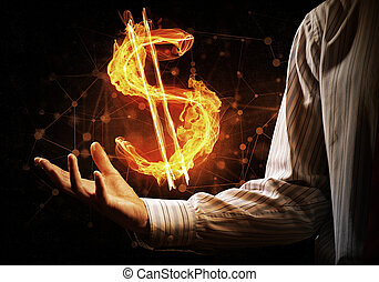 Dollar currency fire symbol - Close of businessman hand...