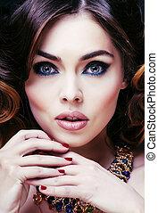 beauty rich woman with luxury jewellery looks like mature...