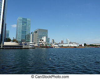London Docklands Water View - A view from the riverside of...