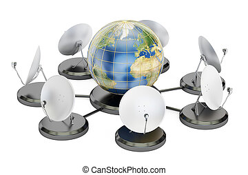 global telecommunications concept, 3D rendering