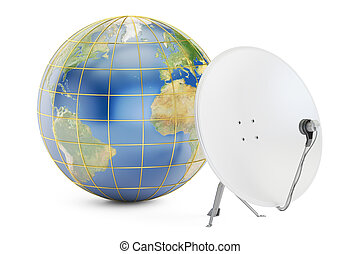Satellite dish with earth, global telecommunications concept. 3D rendering