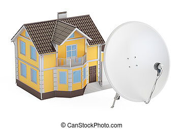Satellite dish with house, 3D rendering isolated on white...