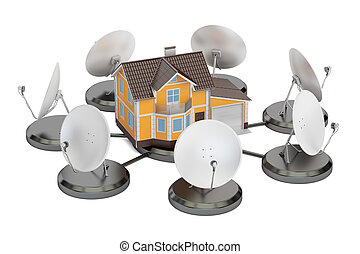Telecommunications concept. Satellite dishes with house, 3D rendering