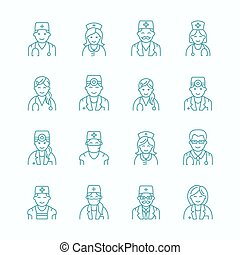 Cute vector line icon of doctor. Hospital, clinic linear...