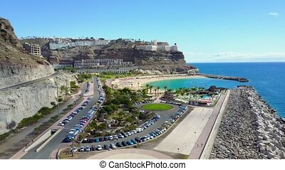 Drone flying over the Amadores beach at Gran Canaria - The...