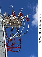 insulators, Sistema, alto, eléctrico, voltaje,  V,  cables