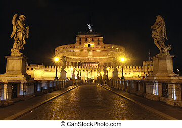 view of Castel Sant Angelo night in Rome, Italy
