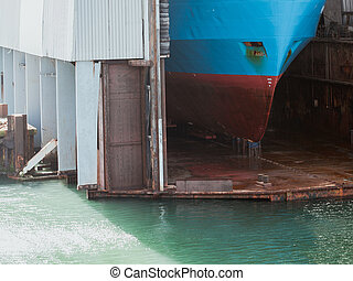 ship in repair yard, dry dock - Dockyard, ship for repairs...
