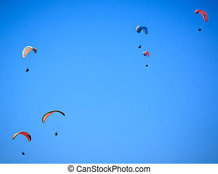 View of a paragliding in the air