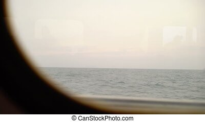 View from ship window in the sea