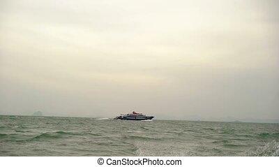 Ship in the sea - Ship moves in the sea