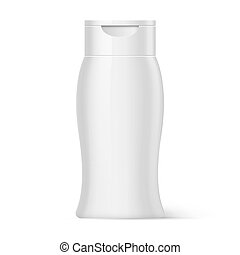 Plastic Bottle Shampoo Packaging - White Bottle of Shampoo...