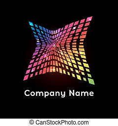 Bright colors rainbow  logo. Abstract logotype on black background