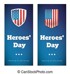 Heroes Day USA banner set vector