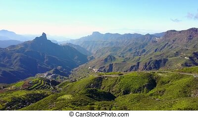 Above beautiful landscape and mountain at Gran Canaria -...
