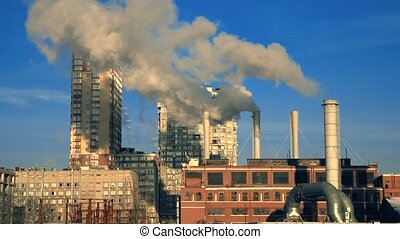Factory Smoke Near Residental Area - Termal power station in...