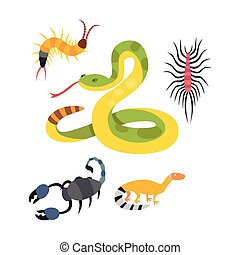 Vector flat snakes and other danger animals. - Vector flat...