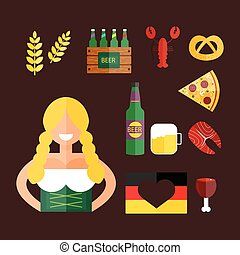 Oktoberfest girl serving beer vector. - Oktoberfest girl...