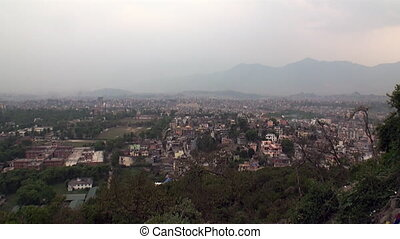 Top view from the mountain on Kathmandu in Nepal. - Top view...